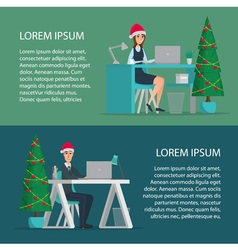 Happy office worker man and woman wearing Santa vector image