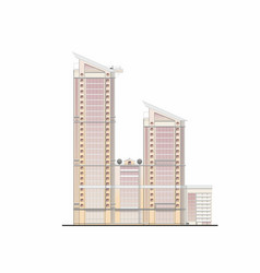 High-rise business center project facad vector