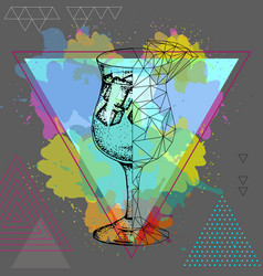 hipster realistic and polygonal cocktail vector image