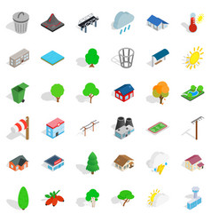 Hunting reserve icons set isometric style vector