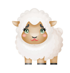lamb sheep little cute domestic farm mammal animal vector image