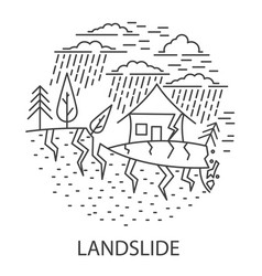 Land slide natural disaster vector