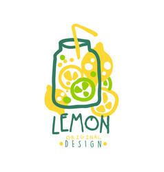 lemon logo template original design colorful hand vector image