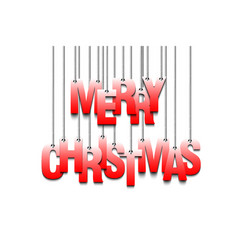 Letters merry christmas hanging on a ropes vector