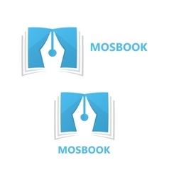 logo combination a book and pen vector image