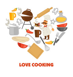 Love cooking promo poster with culinary equipment vector
