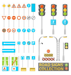 mega collection of road signs road elements with vector image