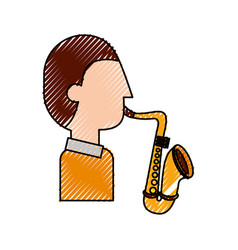 musician character saxophone jazz music festival vector image