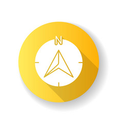 Navigator arrow yellow flat design long shadow vector