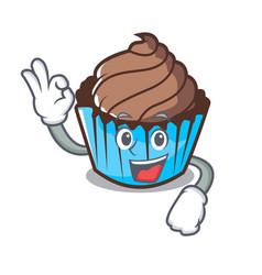 okay chocolate cupcake character cartoon vector image