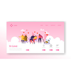 People in love on winter season landing page vector