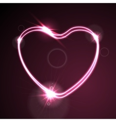 Pink heart glowing neon effect abstract vector image