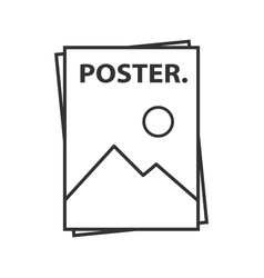 Poster template linear icon vector