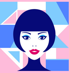 poster with woman face and geometric figures vector image