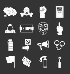 Protest icons set grey vector