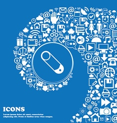 Pushpin icon sign Nice set of beautiful icons vector image vector image