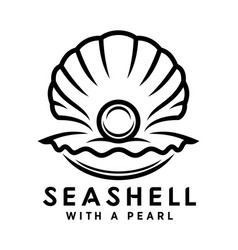 seashell with pearl outline icon vector image