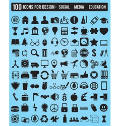 Set 100 various icons for design vector image