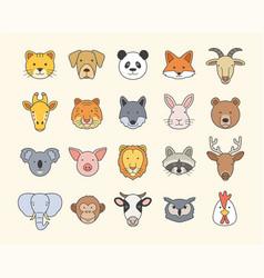 set cute animal heads vector image