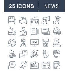 Set flat line icons news vector