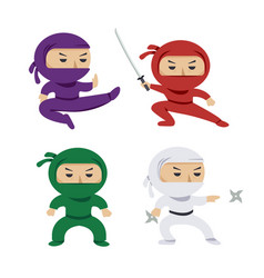 Set of the cartoon colored ninjas with katana vector
