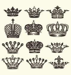 set of vintage royal crown vector image vector image
