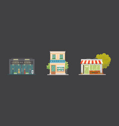 Shop store buildings set vector