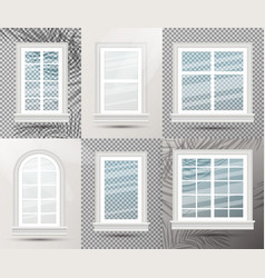 six closed realistic glass windows with shadows vector image