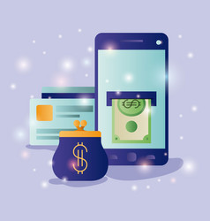 smartphone with ecommerce icons vector image