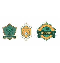 Soccer club logo sets star ball vector