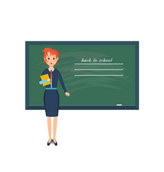 teacher with pointer beside blackboard vector image