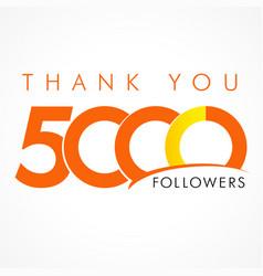 Thank you 5000 followers logo concept vector
