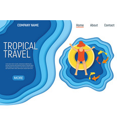Tropical travel kid character on water mattress vector