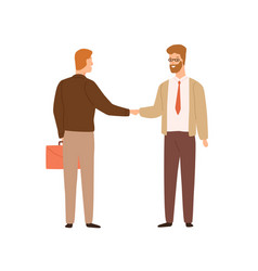 two businessman shaking hands making deal vector image