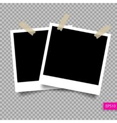 two retro polaroid photo frame template vector image