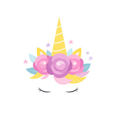 Unicorns horn with flowers and eyelashes card vector
