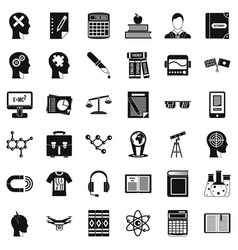 university icons set simple style vector image