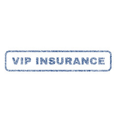 Vip insurance textile stamp vector