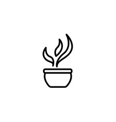 web line icon flower in a pot vector image