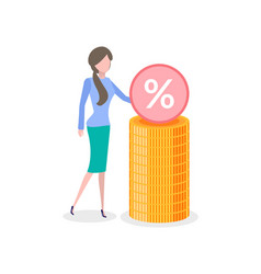woman with stack gold and percent sign isolated vector image