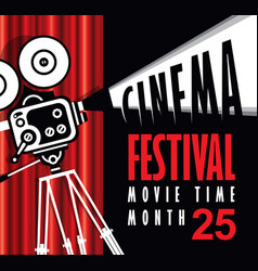 movie time poster with old fashioned movie camera vector image