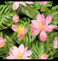 tropical lotos pattern vector image vector image