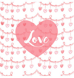 valentines card with heart and lovw text in pink vector image vector image