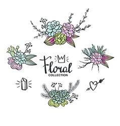 Boho wedding succulents decoration Floral set vector image vector image