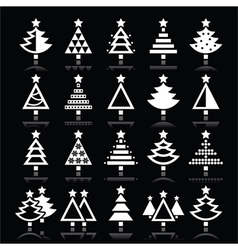 Christmas tree white icons set isolated on black vector image vector image