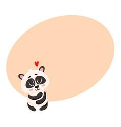Cute and funny baby panda character hugging itself vector