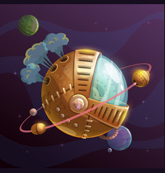 Fantasy steampunk planet on space background vector