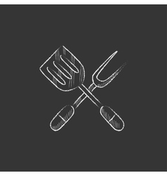 Kitchen spatula and big fork Drawn in chalk icon vector image vector image