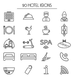 Set of icons of linear hotel service Isolated vector image