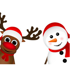 Snowman and Reindeer peeking sideways vector image vector image